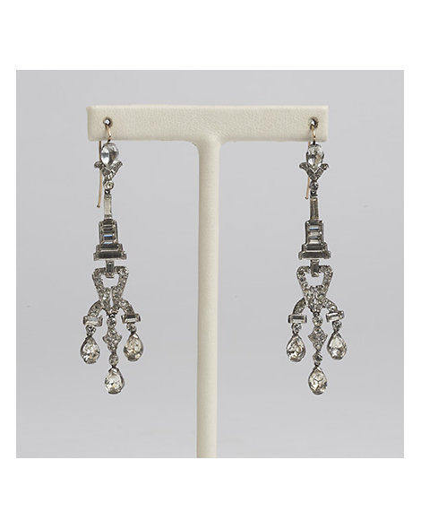 Art Deco Sterling Silver and Paste Drop Earrings