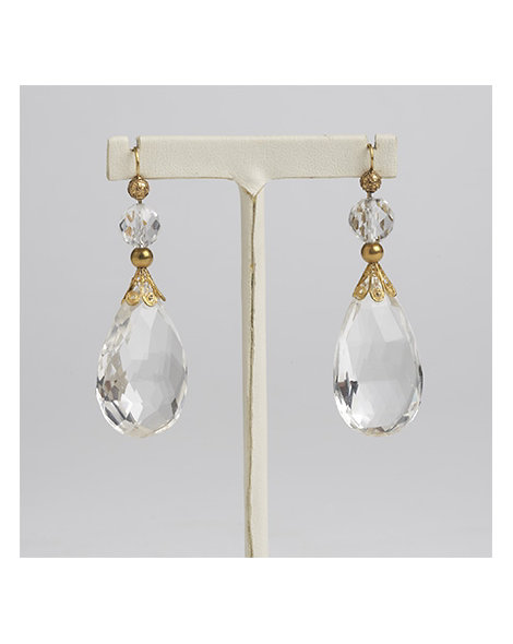 Large Rock Crystal Pendant Earrings