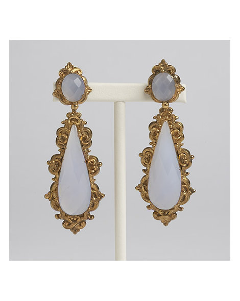 Rare Chalcedony and Gold Pendant Earrings