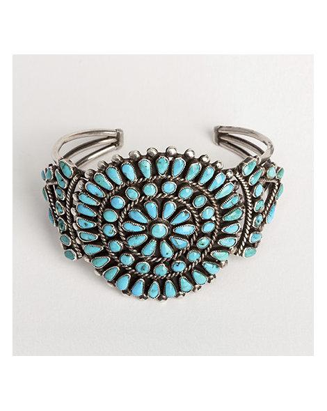 Zuni turquoise cluster cuff