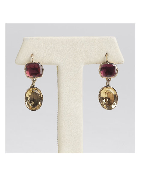 "Gold, Garnet and Topaz ""Day to Night"" Earrings"