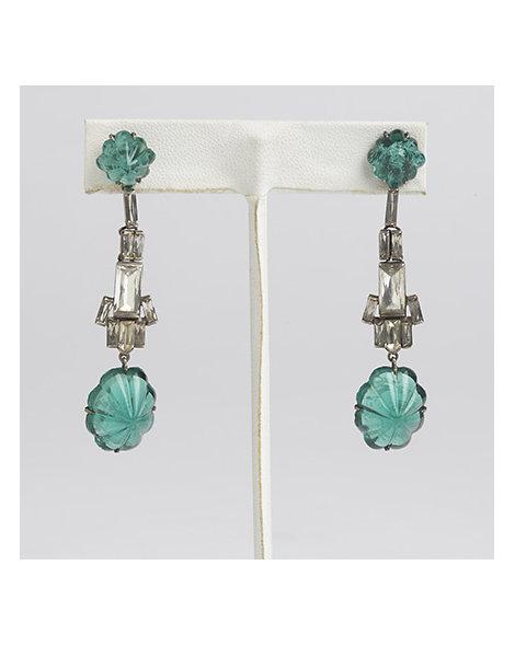 Art Deco White and Green Paste Pendant Earrings