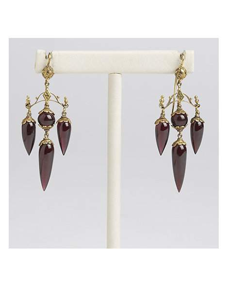 Victorian Gold and Garnet Dangle Earrings