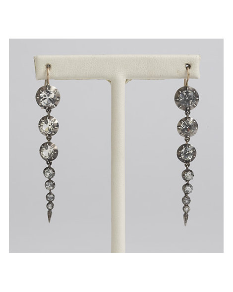 Sterling Silver and Paste Graduated Earrings