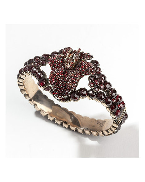 Ornate garnet & gold bangle
