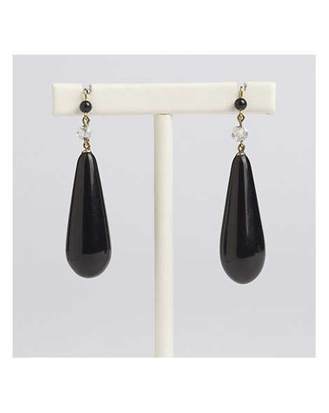 Whitby Jet Pendant Drop Earrings