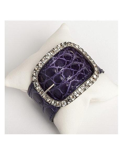 Sterling silver, paste & alligator buckle bracelet