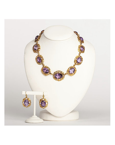 Amethyst necklace & earrings set