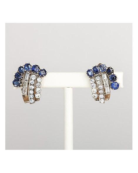 Blue & white paste clip-on earrings