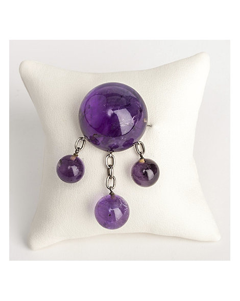 Three drop cabochon amethyst pin