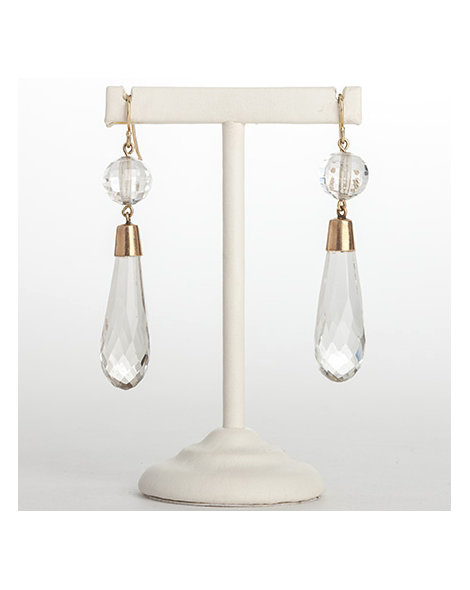 Gold & crystal two-drop earrings