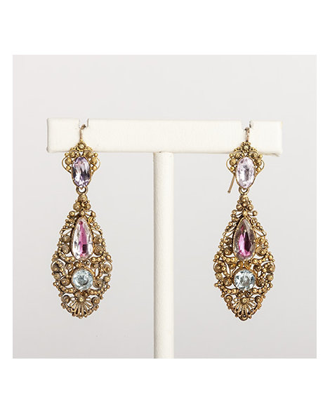 Gold Cannetille earrings with gem stones