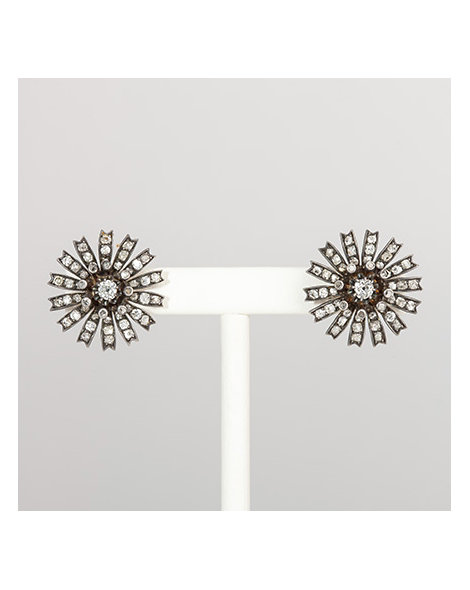 Floral diamond and sterling silver earrings