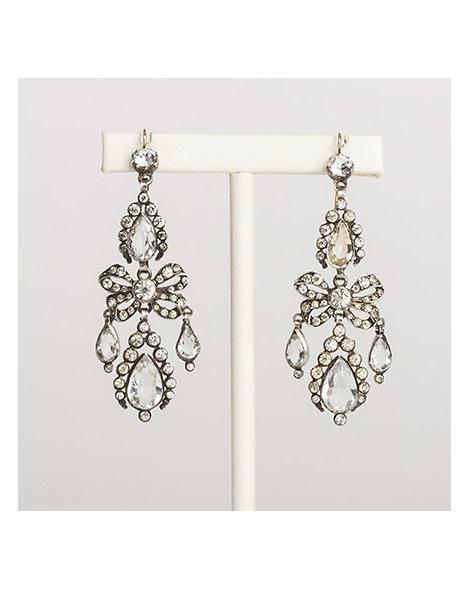 Sterling silver and paste chandelier earrings