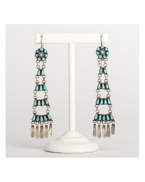 Zuni turquoise ladder earrings