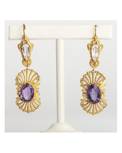 18kt gold, topaz and amethyst drop earrings