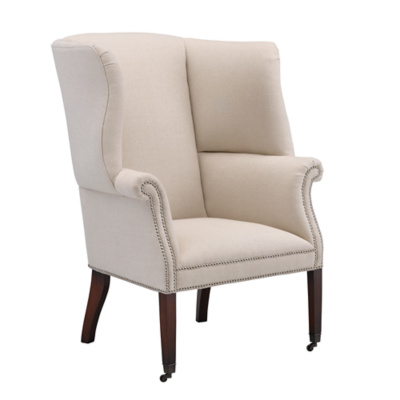 Hepplewhite Wing Chair, Upholstered Back