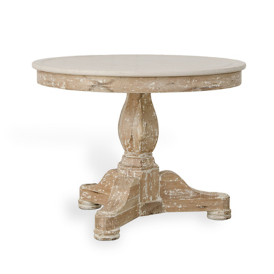 Empire Table in White Wash Base with Limestone Top