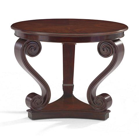 One Fifth Scroll End Table, Classic Mahogany   Occasional Tables    Furniture   Products   Ralph Lauren Home   RalphLaurenHome.com