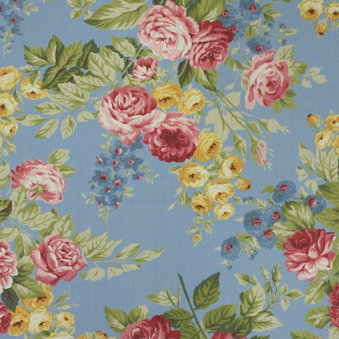Garden Harbor Floral   Sky   Florals   Fabric   Products   Ralph Lauren  Home   RalphLaurenHome.com