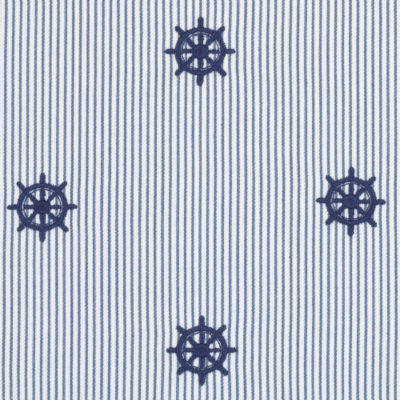 Captain's Wheel Ticking Stripe – Deck Blue