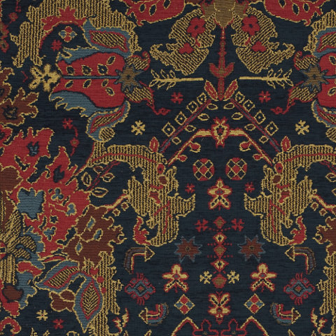 Schuyler persian navy exotic fabric products for Patterned material for sale