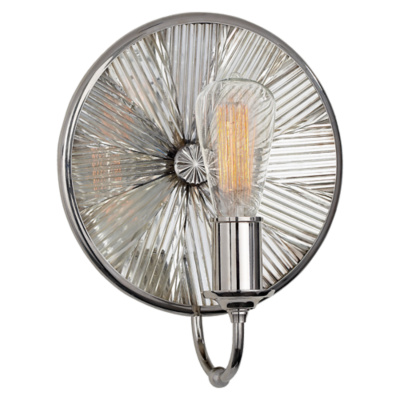 Rivington Round Sconce in Polished Nickel with Ribbed Mirror