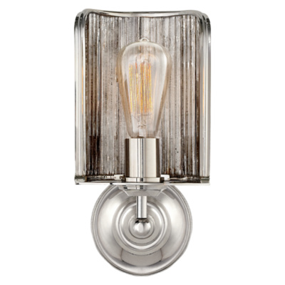 Rivington Shield Sconce in Polished Nickel with Ribbed Mirror