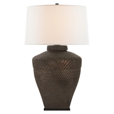 Isla Large Table Lamp in Crystal Bronze with Linen Shade