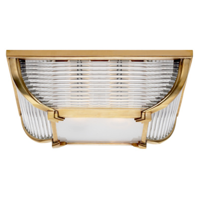Perry Large Flush Mount in Natural Brass with White Glass