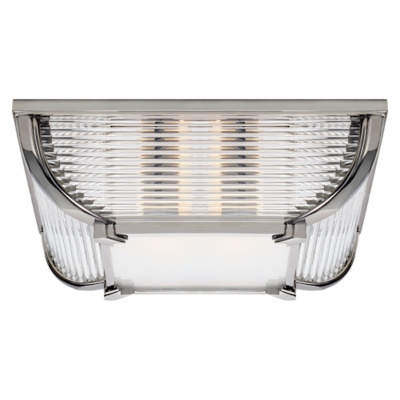 Perry Large Flush Mount in Polished Nickel with White Glass