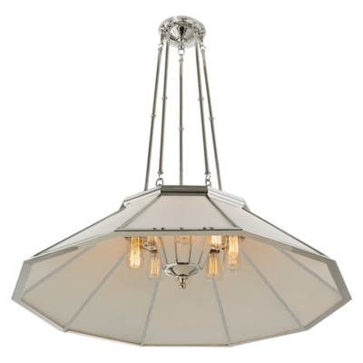 Rivington Large Round Billiard Pendant in Polished Nickel with White Glass