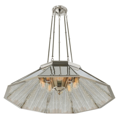 Rivington Large Round Billiard Pendant in Polished Nickel with Ribbed Mirro