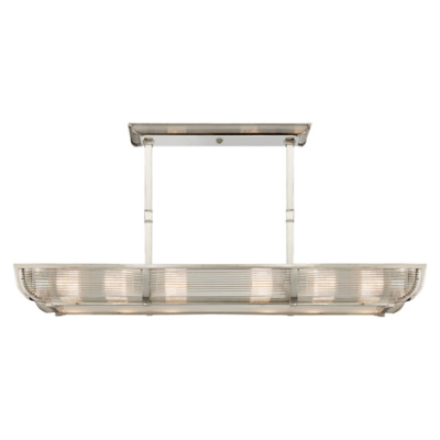 Perry Medium Linear Pendant in Polished Nickel with White Glass