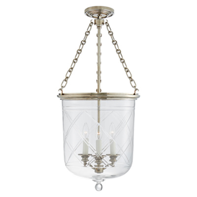 Cambridge Medium Smoke Bell Pendant in Butler's Silver with Clear Glass