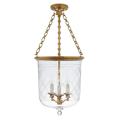 Cambridge Medium Smoke Bell Pendant in Natural Brass with Clear Glass
