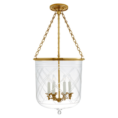 Cambridge Large Smoke Bell Pendant in Natural Brass with Clear Glass