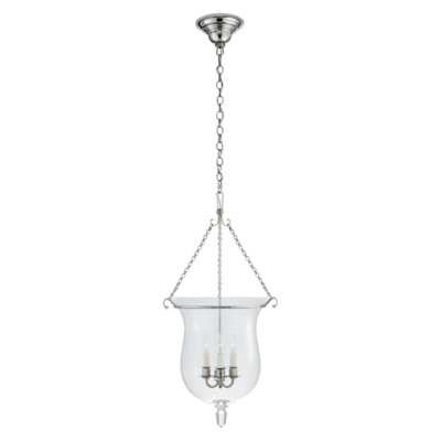 Julianne Small Smoke Bell Pendant in Polished Nickel with Clear Glass