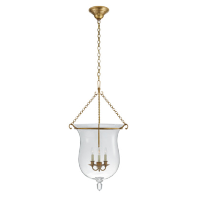 Julianne Large Smoke Bell Pendant in Natural Brass with Clear Glass