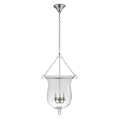 Julianne Large Smoke Bell Pendant in Polished Nickel with Clear Glass