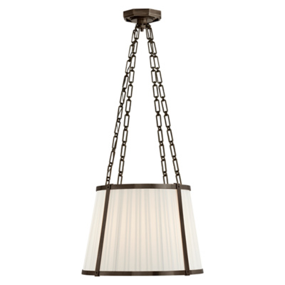 Windsor Medium Hanging Shade in Bronze with Box Pleat Silk Shade