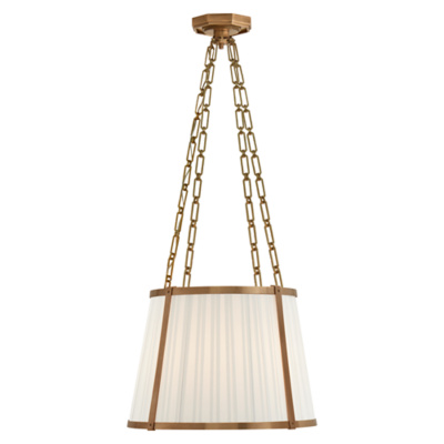 Windsor Medium Hanging Shade in Natural Brass with Box Pleat Silk Shade