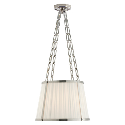 Windsor Medium Hanging Shade in Polished Nickel with Box Pleat Silk Shade