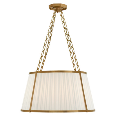 Windsor Large Hanging Shade in Natural Brass with Box Pleat Silk Shade