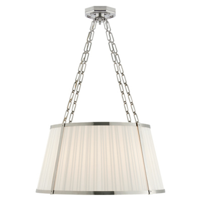 Windsor Large Hanging Shade in Polished Nickel with Box Pleat Silk Shade