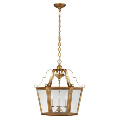 Francoise Medium Lantern in Gilded Iron with Clear Glass