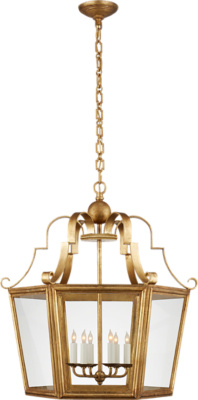Francoise Large Lantern in Gilded Iron with Clear Glass