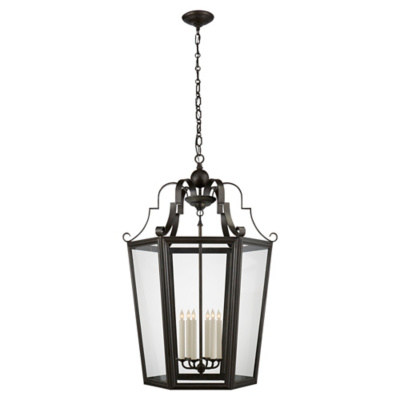 Francoise XL Lantern in Aged Iron with Clear Glass