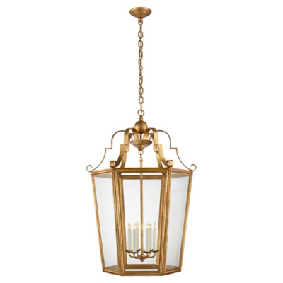 Francoise XL Lantern in Gilded Iron with Clear Glass