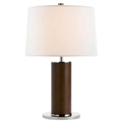 Beckford in Chocolate Leather with Linen Shade